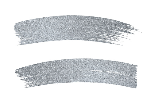 Silver Glitter Paint Brush Stroke on White Background.