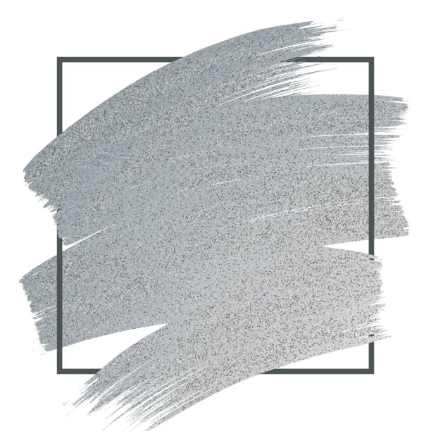 Silver Glitter Paint Brush Stroke with Frame on White Background. vector art illustration