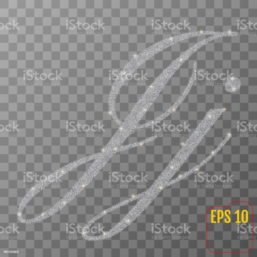 Silver glitter powder letter J in hand painted style on transparent background. Silver font type letter J, uppercase. Vector illustration. royalty-free silver glitter powder letter j in hand painted style on transparent background silver font type letter j uppercase vector illustration stock vector art & more images of abundance