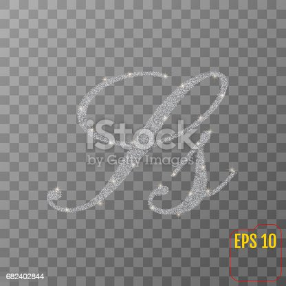 Silver Glitter Powder Letter S In Hand Painted Style On Transparent Background Silver Font Type Letter S Uppercase Vector Illustration Stock Vector Art & More Images of Abundance 682402844