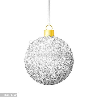 istock Silver glitter shiny christmas ball 1182178729