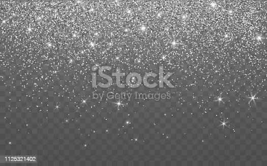 Silver glitter sparkle on a transparent background. Vibrant background with twinkle lights. Vector illustration.