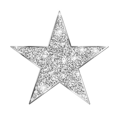 Silver glitter star isolated on white background