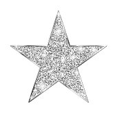 istock Silver glitter star isolated on white background 1278380899
