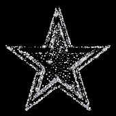 Silver glitter star of many small stars. Silver confetti template for banner, card, vip, exclusive, certificate, gift, luxury, privilege, voucher, store, present.