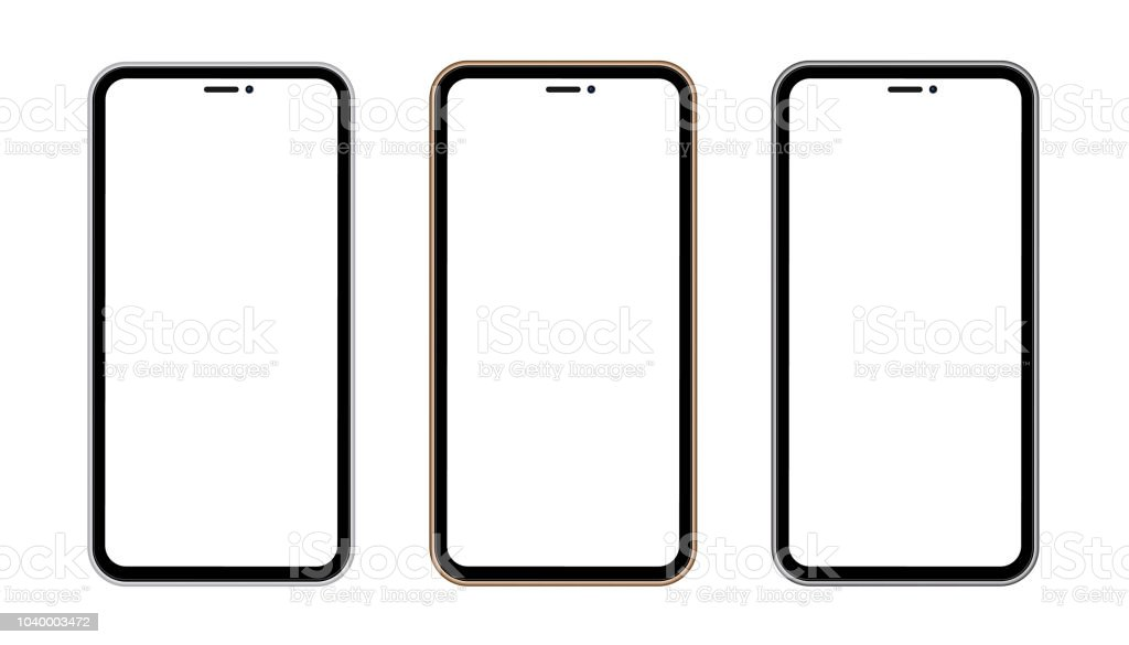 Silver, gold and black phone concept with blank screen isolated on transparent background. Vector quality illustration. vector art illustration