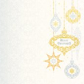 Stylized Christmas Ornaments on a Damask Background. Room for your copy.