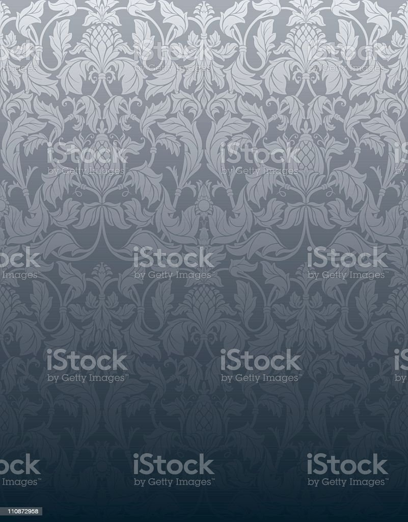 Silver Grey vintage seamless wallpaper royalty-free stock vector art