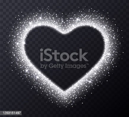 Silver heart frame with sparkles and flares, abstract luminous particles, white stardust light effect isolated on a dark background. Xmas glares and sparks. Luxury backdrop. Vector illustration.