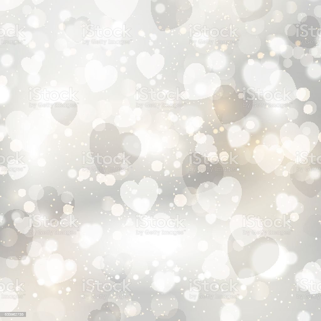 Silver hearts background vector art illustration