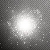 Silver hearts bokeh