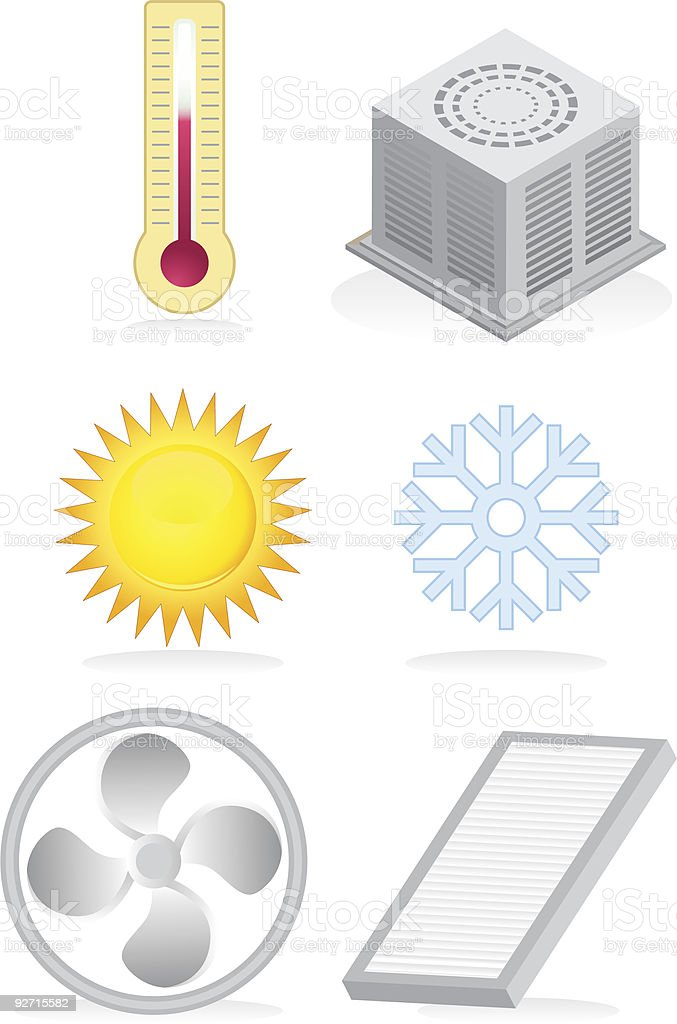 Silver Heating and Cooling Icons vector art illustration