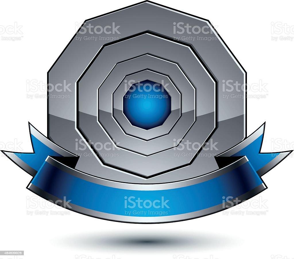 Silver Heraldic Vector Round Template 3d Royal Geometric Stock ...
