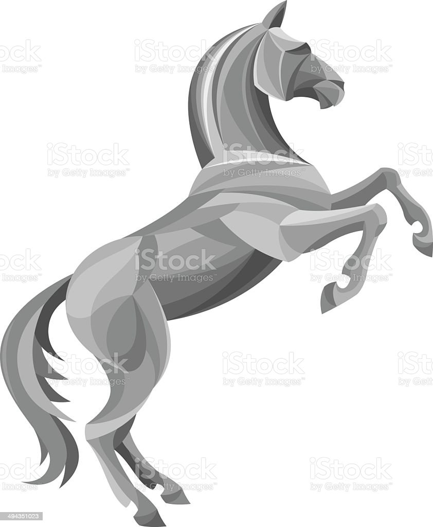 Silver horse vector art illustration