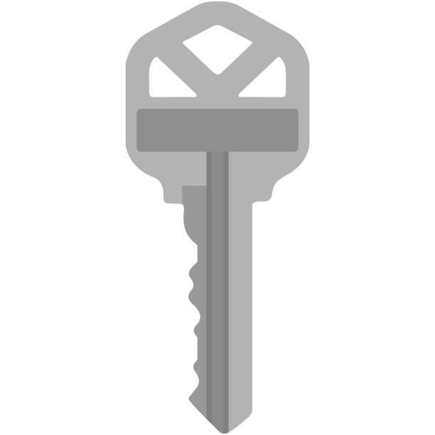 Silver House Key Illustration Single traditional silver house key isolated on white background house key stock illustrations