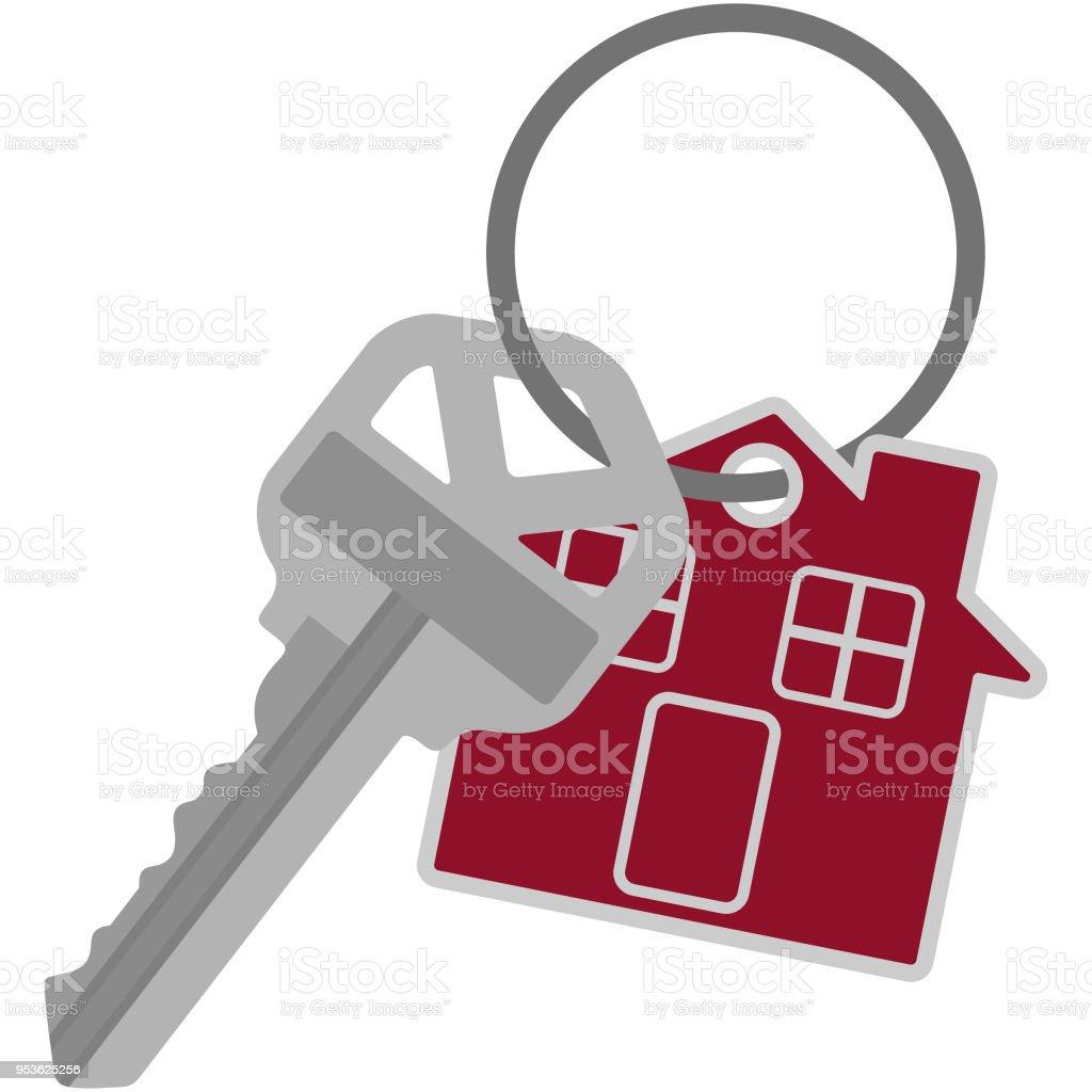 Silver House Key on Key Ring Illustration vector art illustration