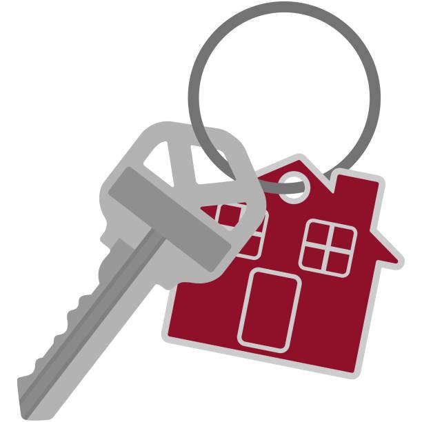 Silver House Key on Key Ring Illustration Single silver house key and red house key chain or tag on silver key ring house key stock illustrations