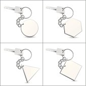 Silver Key Chain with Blank Tag