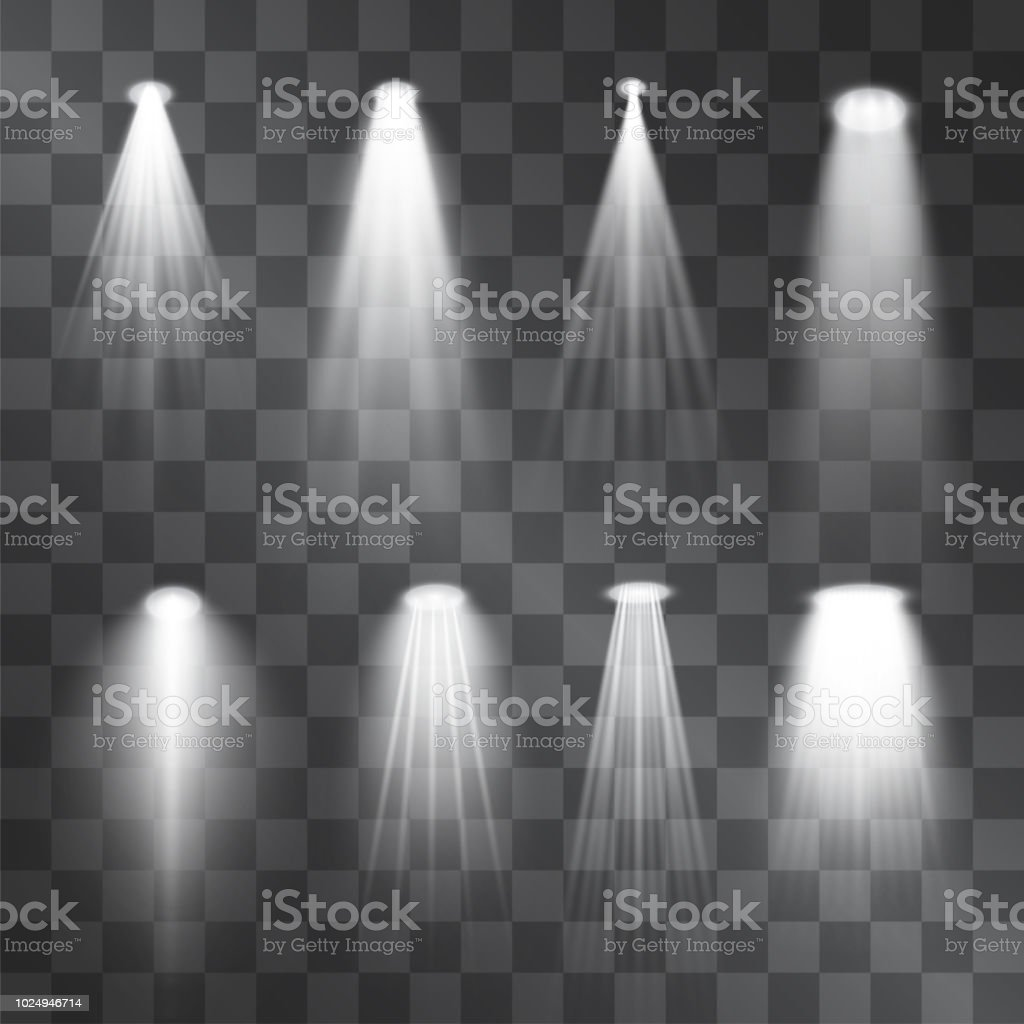 Silver light projector beams set. Glowing stage illumination isolated on  transparent background.  Show scene soffits to focus attention. Performance soffits for banners, posters. vector art illustration