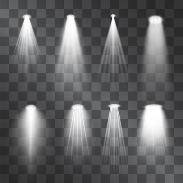 silver light projector beams set. glowing stage illumination isolated on  transparent background.  show scene soffits to focus attention. performance soffits for banners, posters. - reflektor światło elektryczne stock illustrations