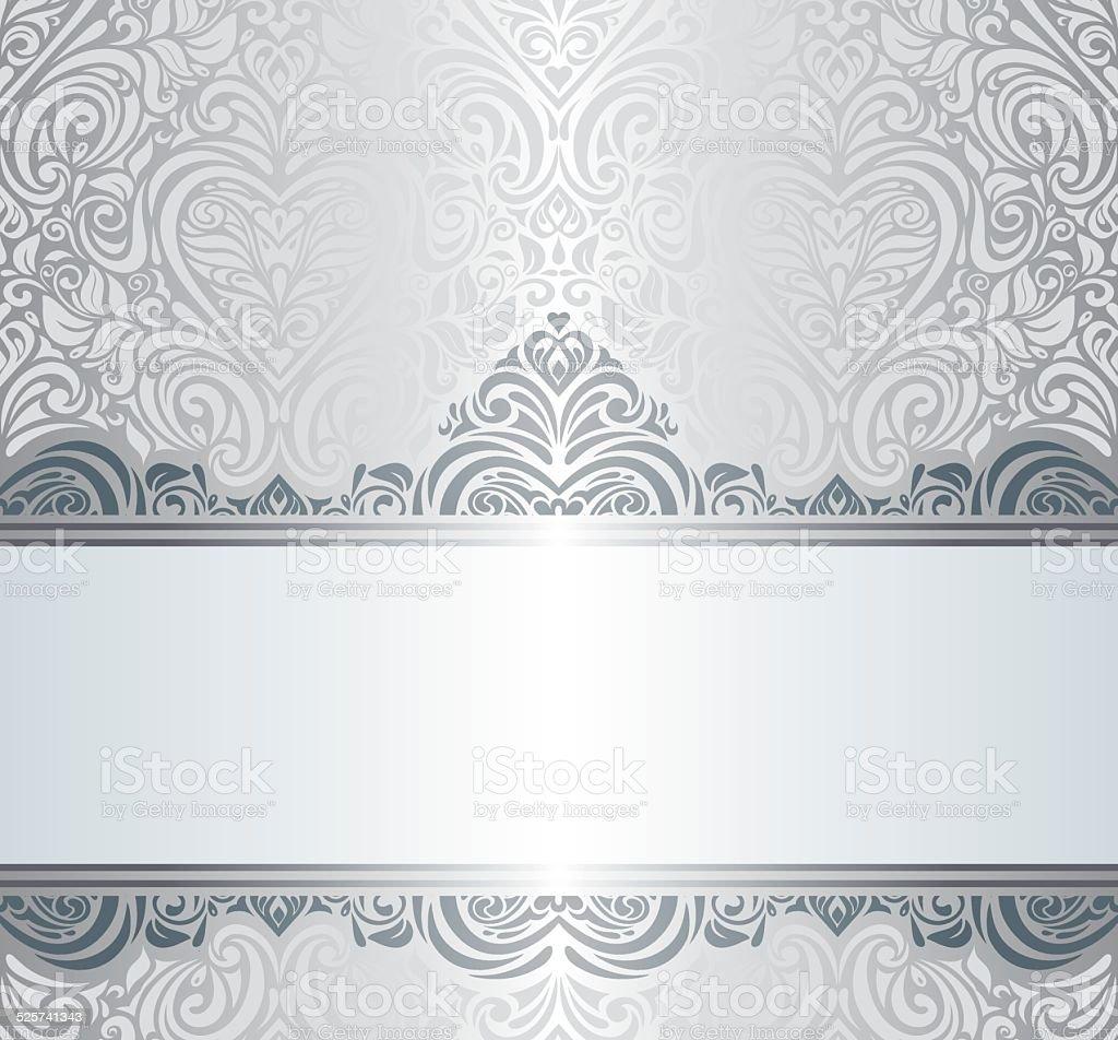 silver luxury vintage invitation background design stock