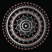 Silver mandala on black background. Indian pattern
