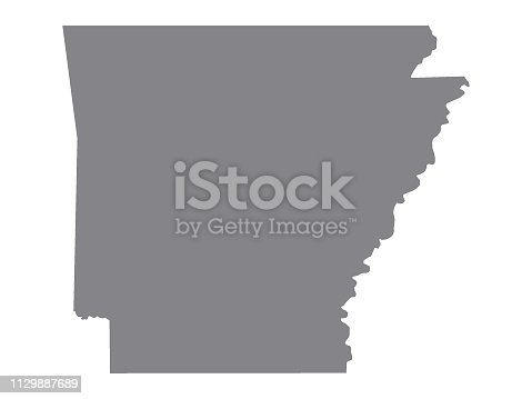 istock Silver Map of USA State of Arkansas 1129887689