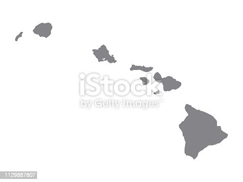 istock Silver Map of USA State of Hawaii 1129887807