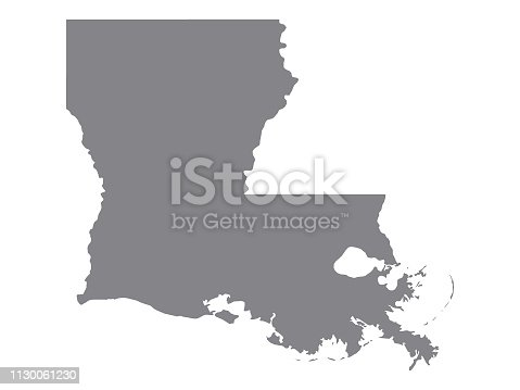 Vector Illustration of the Silver Map of USA State of Louisiana