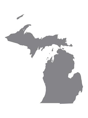 Silver Map of USA State of Michigan