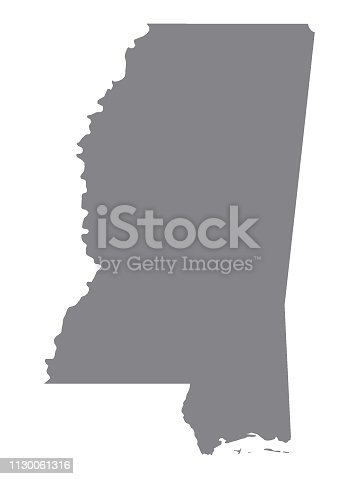 Vector Illustration of the Silver Map of USA State of Mississippi