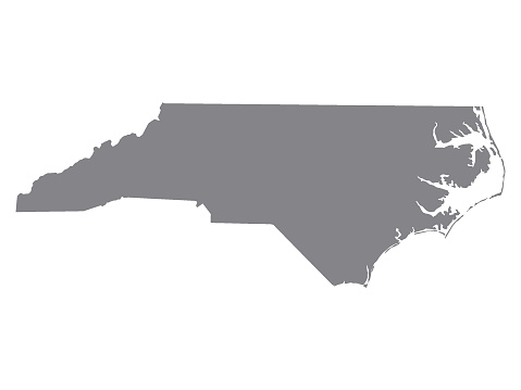 Vector Illustration of the Silver Map of USA State of North Carolina