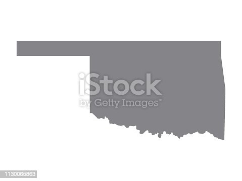 Vector Illustration of the Silver Map of USA State of Oklahoma