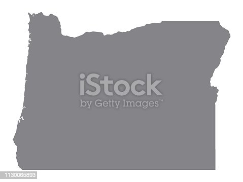 Vector Illustration of the Silver Map of USA State of Oregon