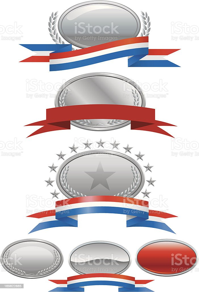 Silver Medallions, Plaques and Ribbons royalty-free silver medallions plaques and ribbons stock vector art & more images of award