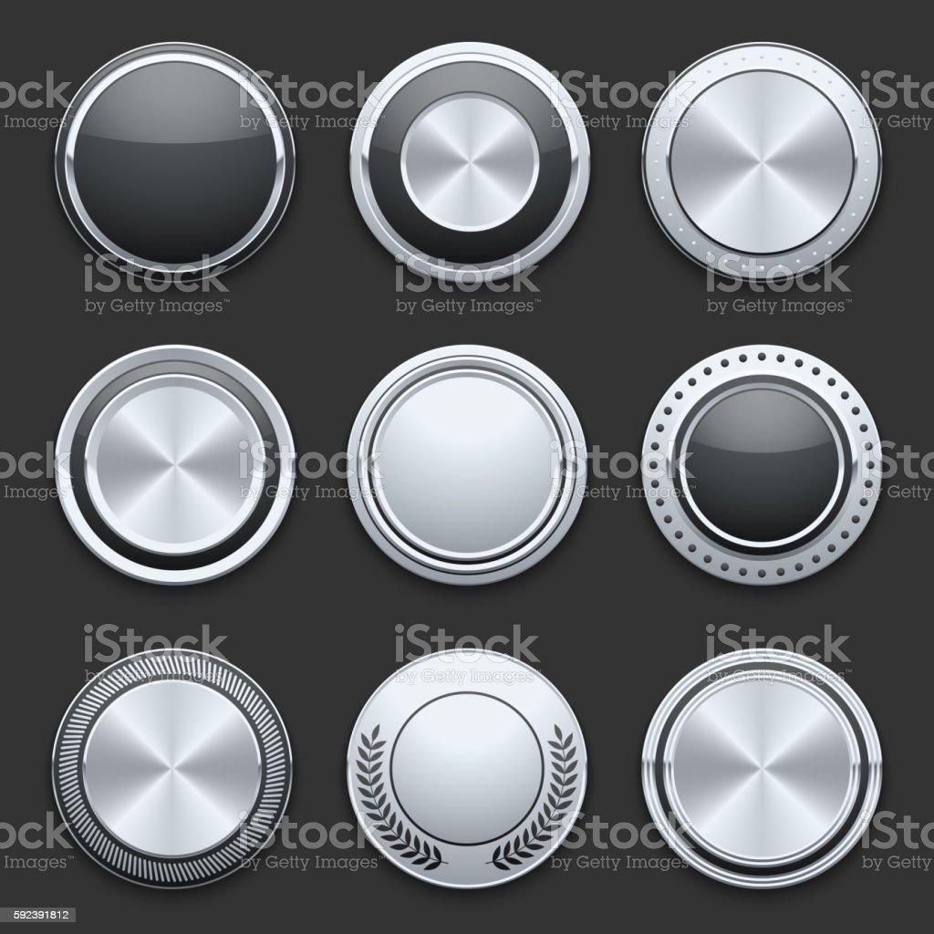 Silver metal chrome vector buttons set vector art illustration