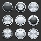 Silver metal chrome vector buttons set