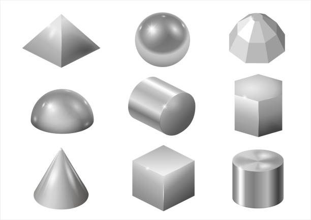 Silver metal forms Set of different silver or steel metal shapes and forms. Vector graphics rod stock illustrations