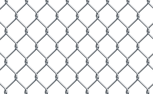 Silver metal mesh chain-link on a white background - Vector