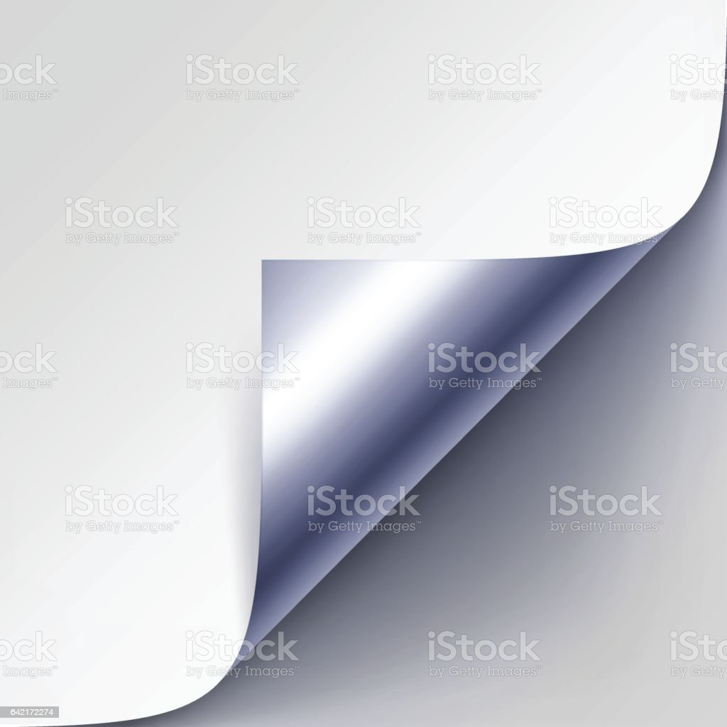 Silver Metalic Corner of White Paper with Shadow Close up vector art illustration