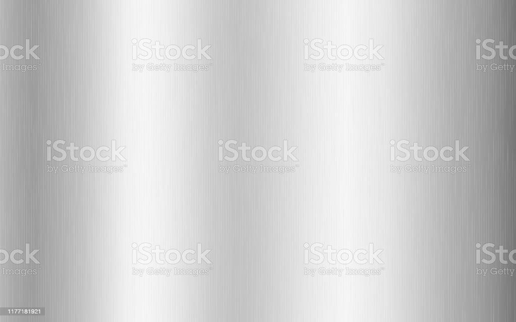 Zilver metallic gradiënt met krassen. Titan, staal, chroom, nikkel folie oppervlakte textuur effect. Vector illustratie - Royalty-free Abstract vectorkunst