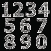 Silver metallic shiny numbers