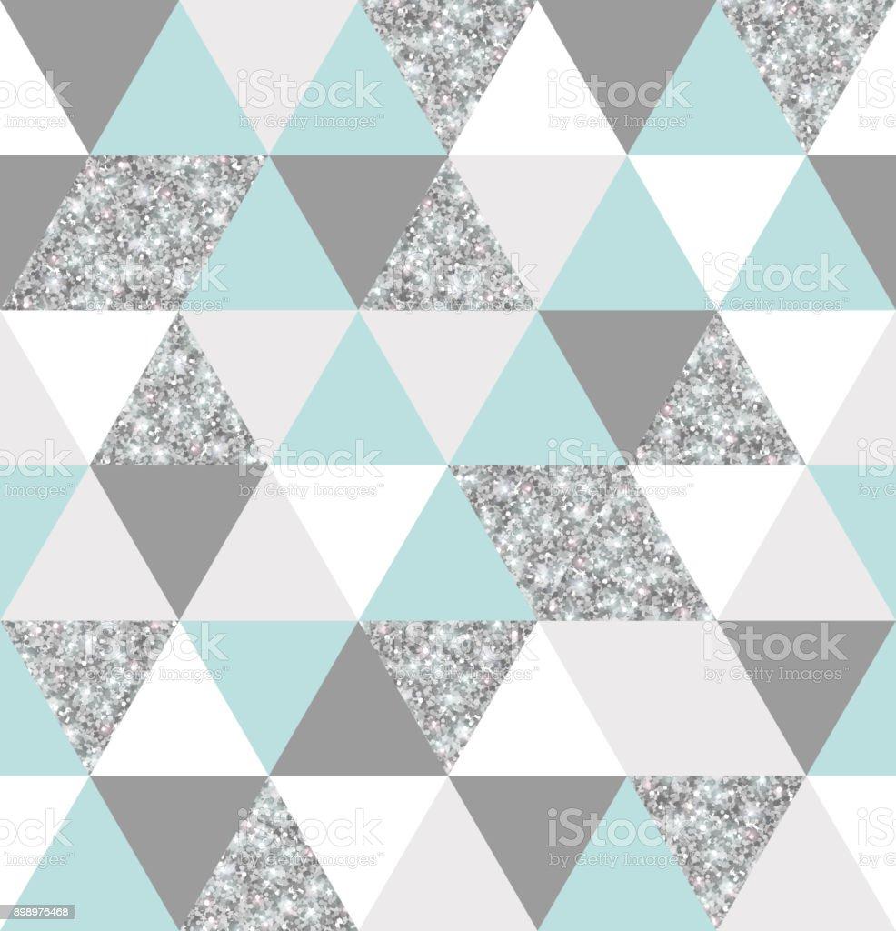 銀、ミント、白い三角形グリッド テクスチャ ベクターアートイラスト