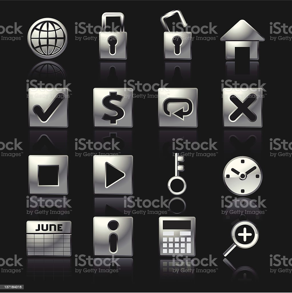 Silver Mobile Icons Set2 royalty-free stock vector art