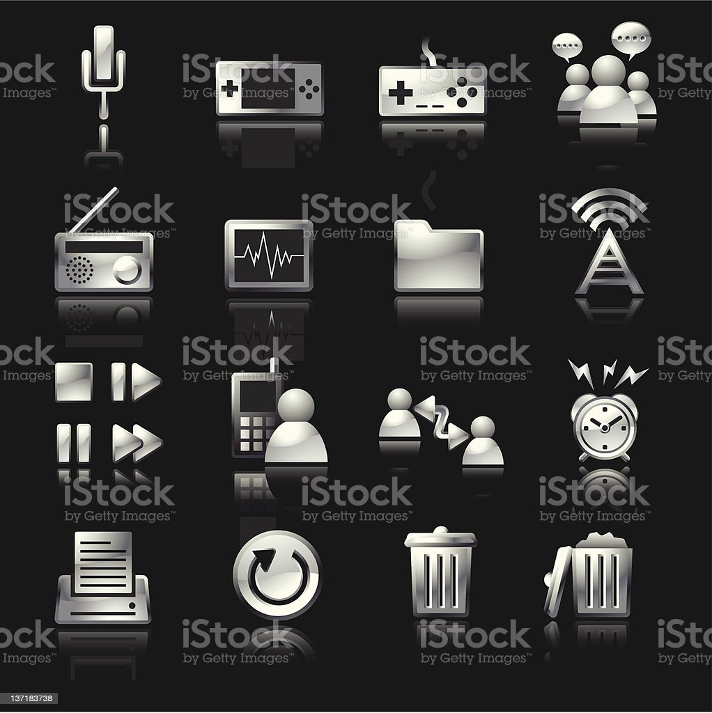 Silver Mobile Icons Set4 royalty-free stock vector art