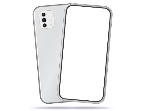 Silver Mobile Phone Front and Back View With White Screen