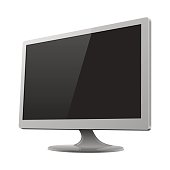 Silver monitor mockup vector illustration
