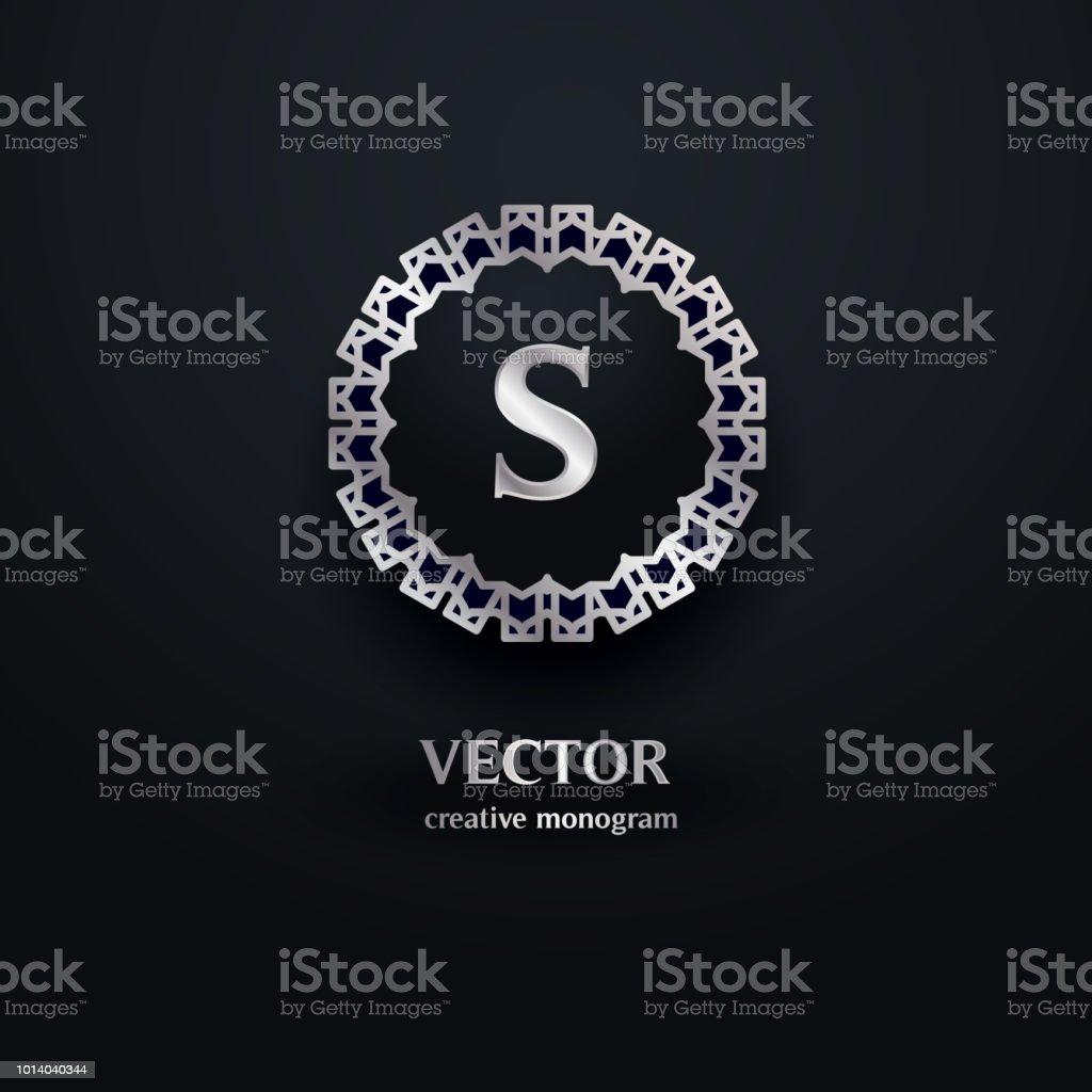 ilustraci u00f3n de monograma de plata con la letra s plantilla