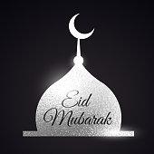 silver mosque shape. Eid mubarak muslims festival