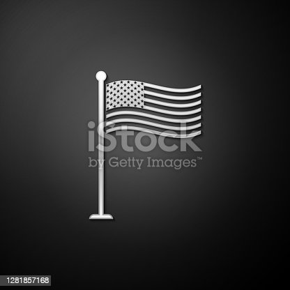 Silver National flag of USA on flagpole icon isolated on black background. American flag sign. Long shadow style. Vector.